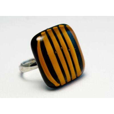 Fekete- narancssárga csíkos üveg gyűrű