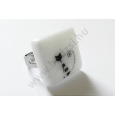 Cica mintás üveg gyűrű