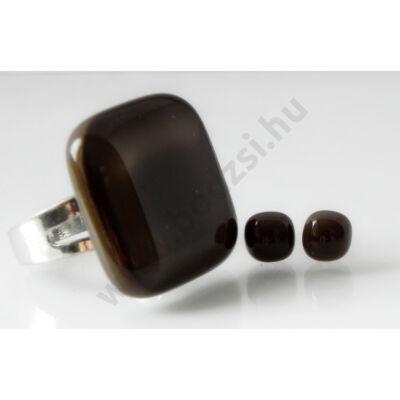 Gyűrű és pöttyi füli szett csokoládébarna színben