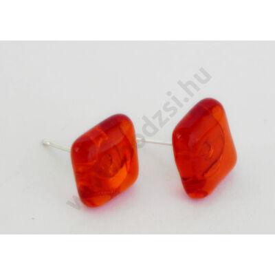 Bedugós kocka fülbevaló áttetsző narancs színben