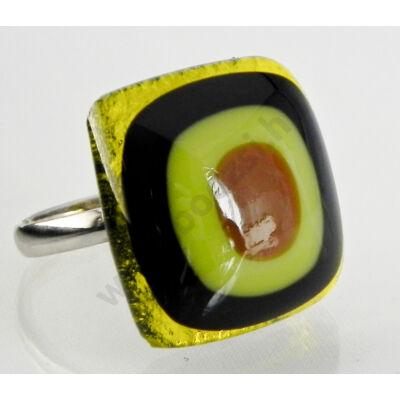 Geometria gyűrű, fekete, sárga,csokoládé barna és fű zöld színekben
