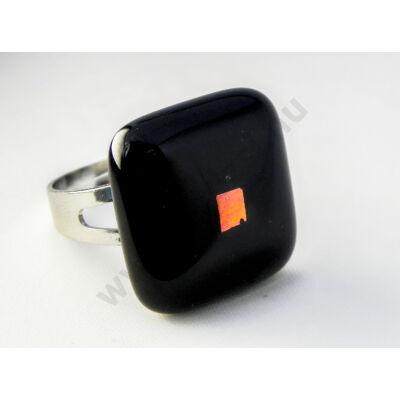 Szolidan csillogó fekete üveg gyűrű MagicArt