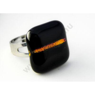 Csillogó fekete üveg gyűrű MagicArt